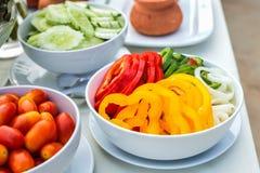 Paprika e cebola cortadas Foto de Stock