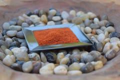 Paprika in einem kleinen Teller Stockfotografie