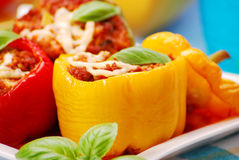 Paprika enchida com a carne triturada Foto de Stock