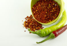 Paprika flakes and peppers stock image