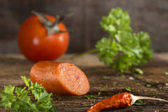 Paprika frankfurter sausage Royalty Free Stock Images