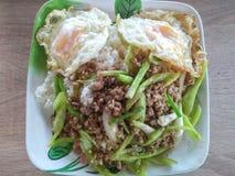 Paprika frito del cerdo con arroz en el huevo frito superior foto de archivo