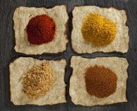 Paprika, ginger, curry, tikka masala powders Stock Photo