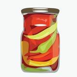 Paprika in glasbank Royalty-vrije Stock Afbeelding