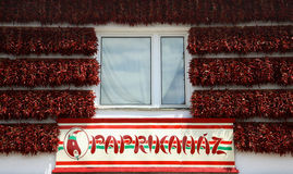 Paprika Hungary. Display of paprika house front Tihani Hungary Stock Images