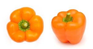 Paprika isolated. yellow and orange capsicum. Stock Photography