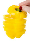 Paprika jaune des parts d'isolement Image stock
