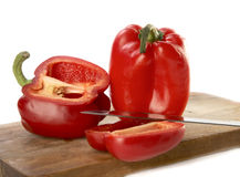 Paprika with a knife Royalty Free Stock Image