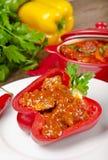 Paprika llena (con la carne) Imagenes de archivo