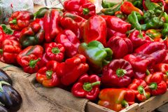 Paprika on the market of Catania in Sicily stock photography