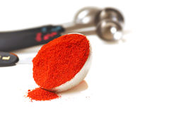 Paprika in a measuring spoon. Freshly ground Hungarian Paprika in a measuring spoon stock photography