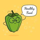 Paprika med anförandebubblan Ballongklistermärke Kall grönsak också vektor för coreldrawillustration Klyftigt nerdtecken för papr stock illustrationer