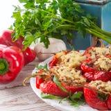Paprika med ris fullly Arkivfoton