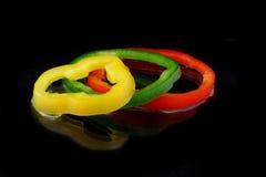 Paprika mit drei Ringen Lizenzfreies Stockbild