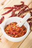 Paprika in the mortar Stock Photography