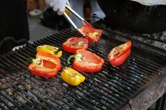 Paprika op de grill Royalty-vrije Stock Fotografie