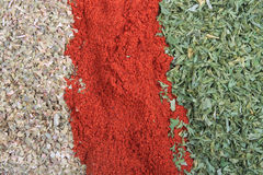 Paprika, parsley flakes and oregano Royalty Free Stock Photography