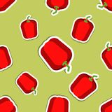 Paprika pattern. Seamless texture with ripe sweet pepper Stock Photo