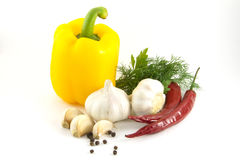 Paprika, pepper, garlic. Are isolated on a white background Stock Photos