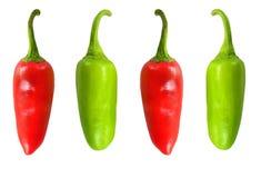 4 Paprika/Pfeffer, Rot 2 grün und 2 Lizenzfreies Stockbild