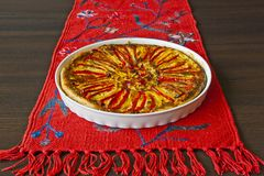 Paprika pie on the red linen Stock Photos