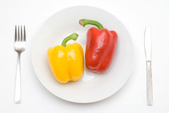 Paprika on the plate Stock Photography