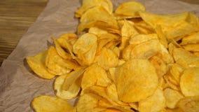 Paprika potato chips dolly stock video footage