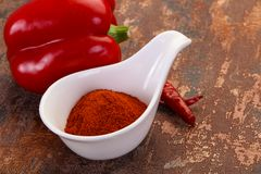 Paprika powder in the bowl. Sweet Paprika powder in the bowl royalty free stock photography