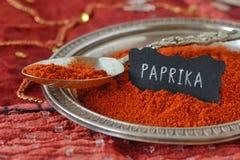 Paprika powder on indian carpet. Macro photography Stock Images