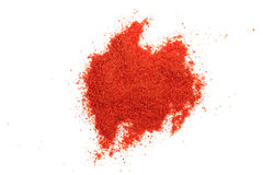Paprika powder isolated on white background. Top view royalty free stock photos