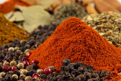 Paprika powder. Pepper and other spices Royalty Free Stock Photos