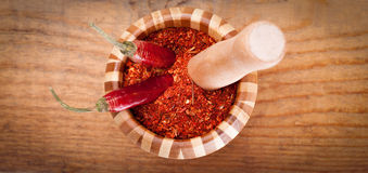 Paprika powder spices in mortar Royalty Free Stock Photos