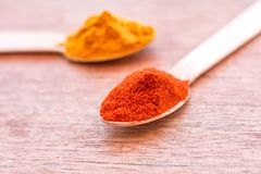 Paprika Powder on a Spoon - Spices Close Up Image Stock Photography