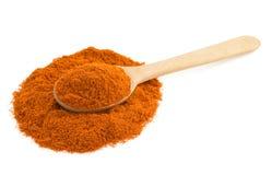 Paprika powder and spoon on white Stock Photos
