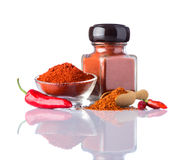 Paprika Powder  on White Background Stock Photography