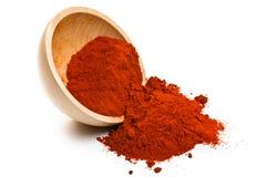 Paprika powder in wooden bowl Royalty Free Stock Photos