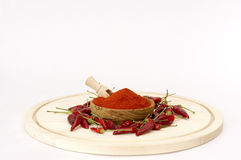Paprika Powder In Wooden Bowl. Stockbilder