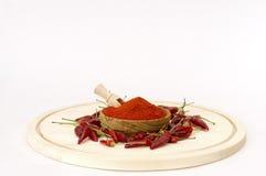 Paprika Powder In Wooden Bowl. Stockbilder