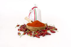 Paprika Powder In Wooden Bowl. Stockfotografie