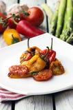 Paprika rôti avec la sauce tomate Légumes rôtis sur le fond rustique blanc Images libres de droits