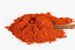 Paprika and red chilli powder. Heap of brilliant red sweet paprika,  on white Stock Photo