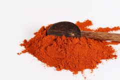 Paprika and red chilli powder. Heap of brilliant red sweet paprika,  on white Royalty Free Stock Image