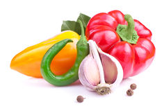 Paprika, Red Hot Pepper and garlic  Royalty Free Stock Photos