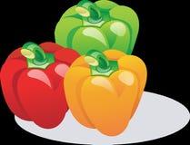 Paprika, Red, Orange, Green Stock Images