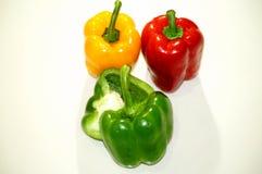 Paprika rojo, amarillo y verde Fotos de archivo