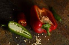 Paprika rojo con las semillas Imagen de archivo libre de regalías
