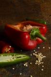 Paprika rojo con las semillas Foto de archivo