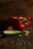 Paprika rouge avec des graines Images stock