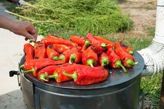 Paprika rouge de torréfaction pour des provisions de l'hiver Photographie stock libre de droits