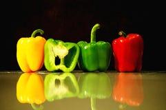 Paprika rouge, jaune et vert Images libres de droits